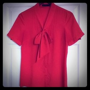 The Limited red tie blouse